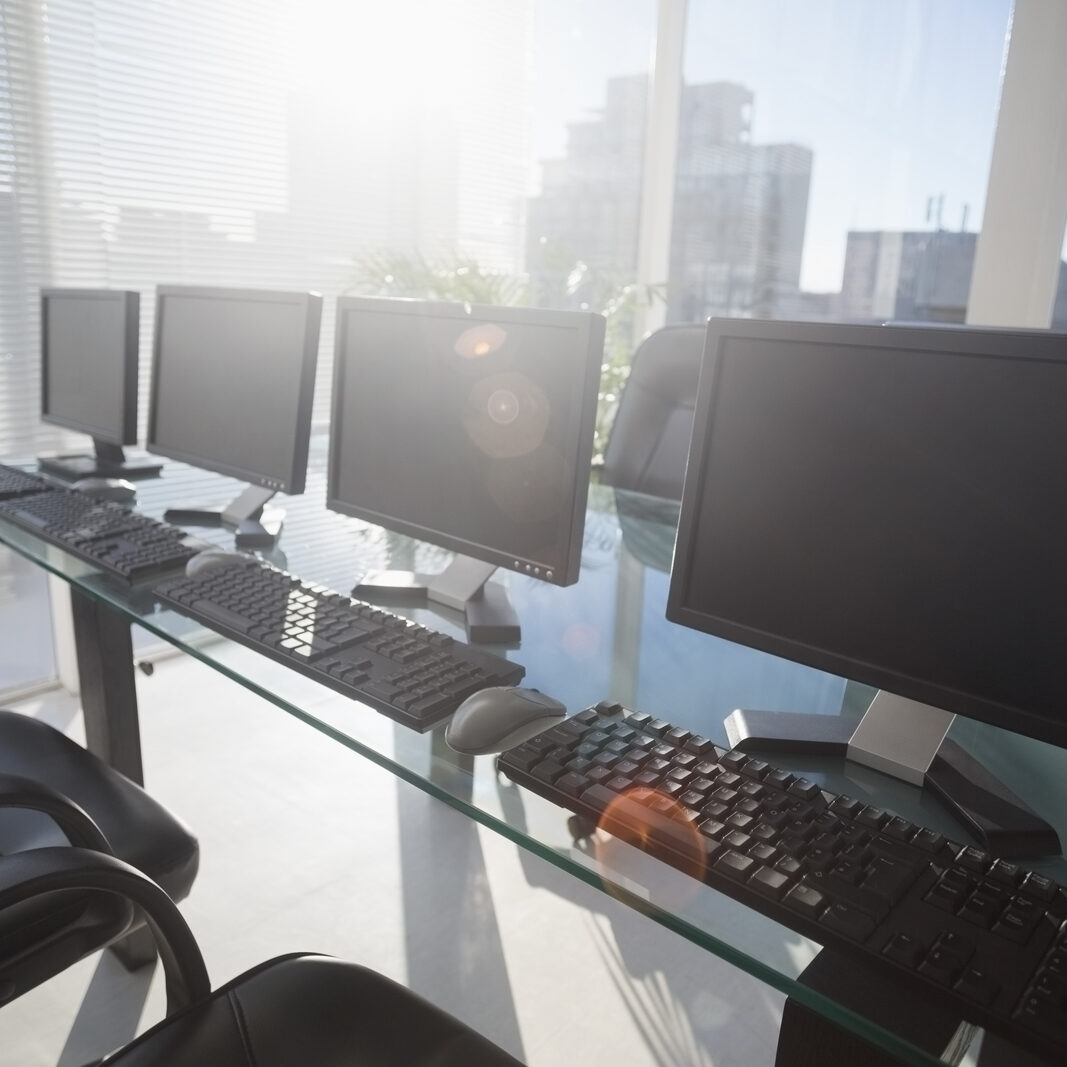 four computers in the desk