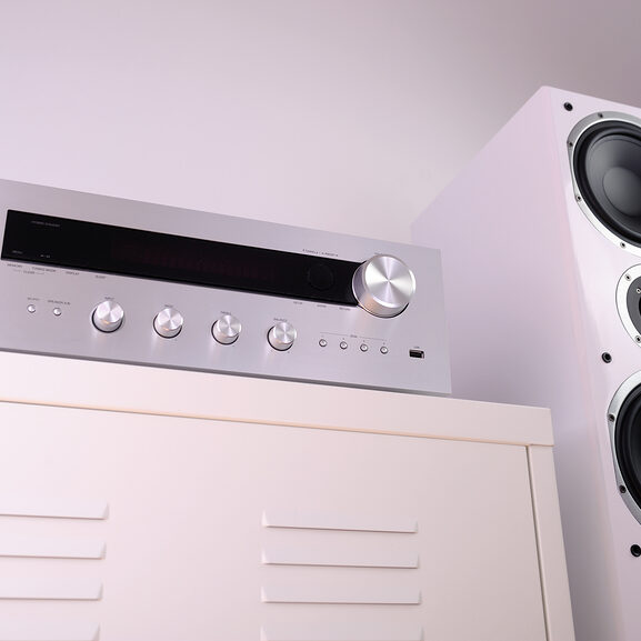 home audio and speaker in the cabinet